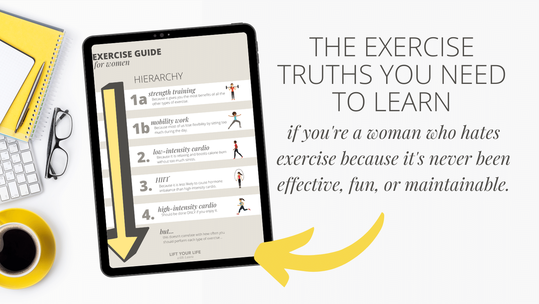 This is the exercise guide for women that don't like exercise...  In this free guide you'll learn the 5 basic types of exercise, exercise for 20s, exercise for 30 year olds, exercise for women, exercise for people who hate exercise, how to exercise when you hate it, hate to exercise, exercise for those who hate exercise, beginners workout plan at home, beginners women weight lifting, beginners womens workout, workout plan for women beginners