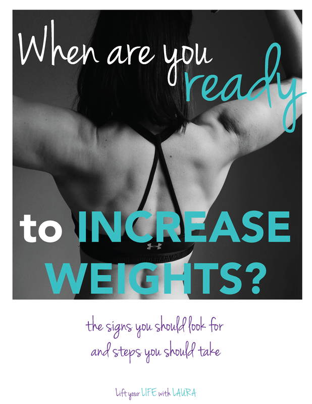 Click to learn the signs for when you are ready to increase weights at the gym. Learn how to lift weights for women by a certified personal trainer! Lift your LIFE with LAURA